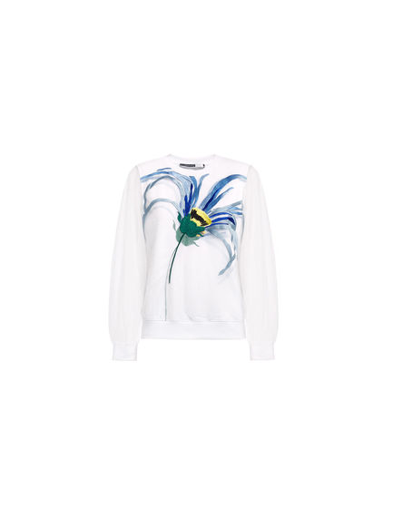 Transparent Sleeve Daisy Sweatshirt