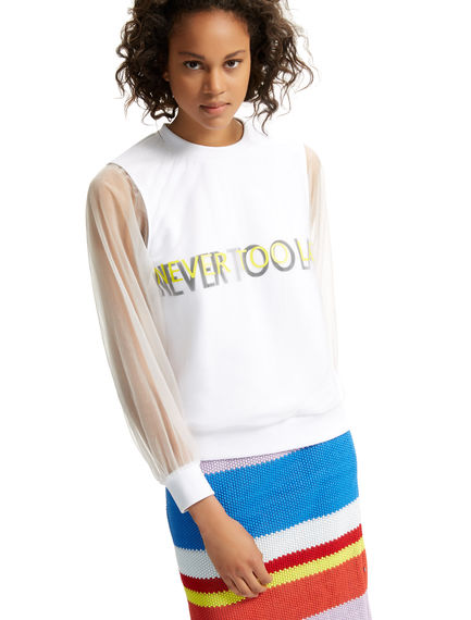 Transparent Sleeve Never Too Late Sweatshirt Sportmax