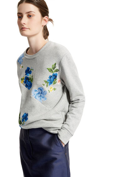 Felpa con ricamo floreale patchwork Sportmax
