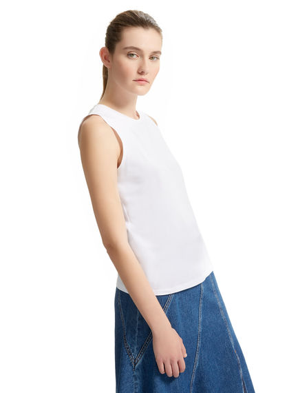 Cotton Jersey Sleeveless T-shirt Sportmax