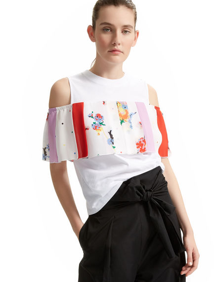 Top in cotone e georgette multi-print Sportmax
