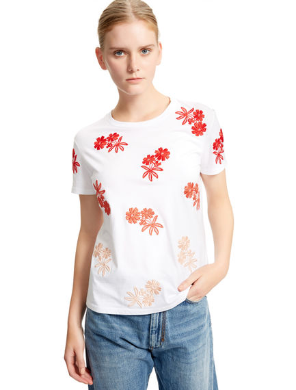 Floral-embroidered White T-shirt Sportmax