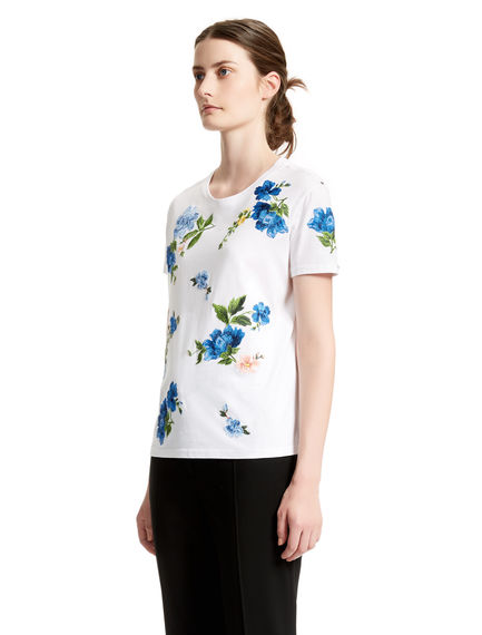 Cornflower-embroidered White T-shirt