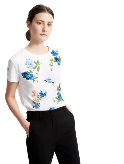 Cornflower-embroidered White T-shirt Sportmax