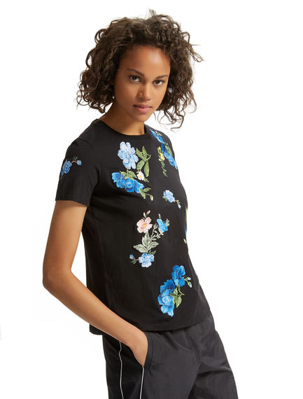 Cornflower-embroidered Black T-shirt Sportmax