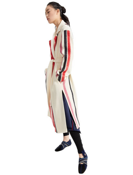 Wool & Mohair Stripe Trench Coat Sportmax