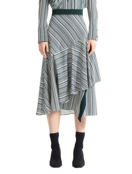 Asymmetric Flounce Striped Skirt