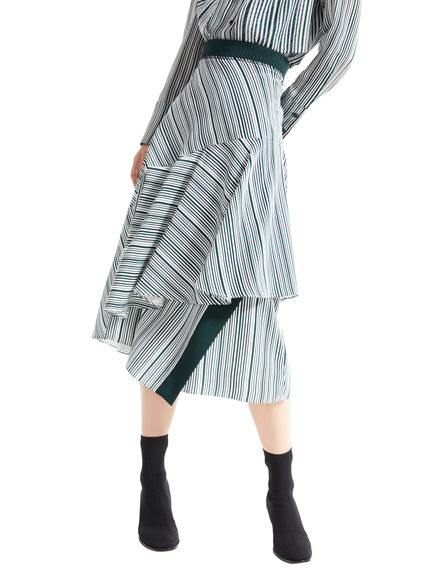 Asymmetric Flounce Striped Skirt Sportmax