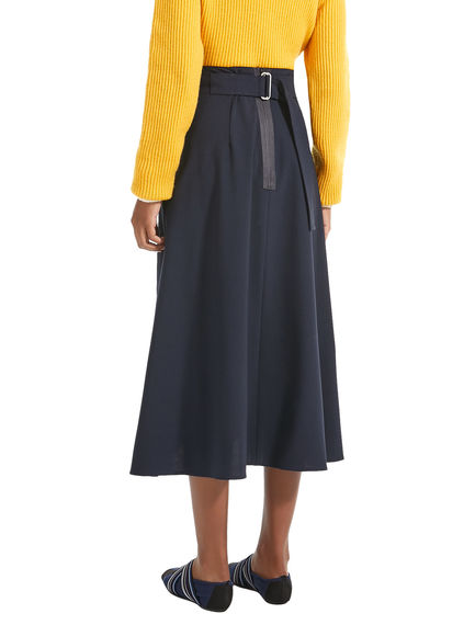 Flared Pleat Wool Skirt