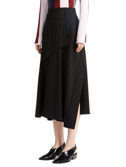 Asymmetric Layered Wool Skirt