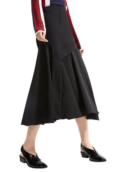 Asymmetric Layered Wool Skirt Sportmax