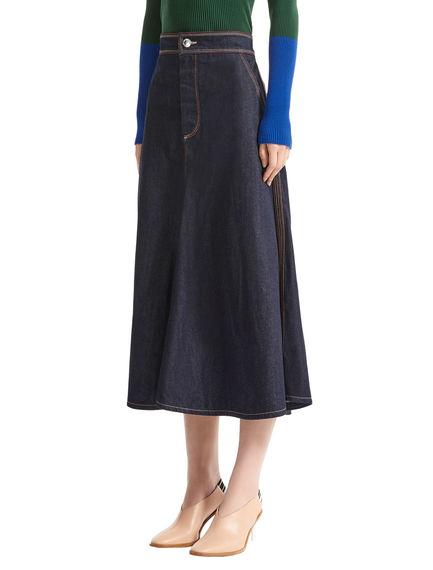 Contrast Stitch Flared Denim Skirt