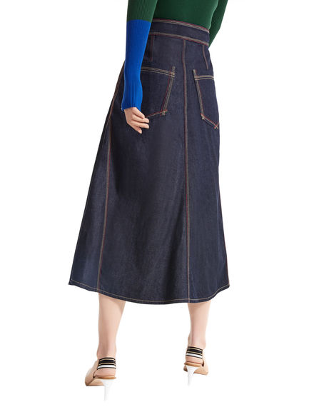 Contrast Stitch Flared Denim Skirt Sportmax