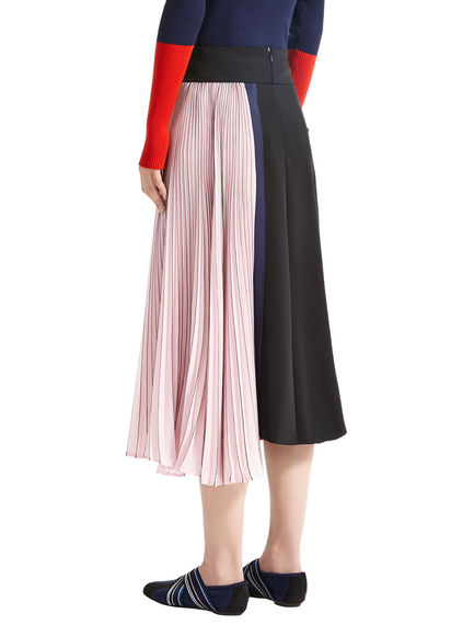 Block Stripe Asymmetric Pleat Skirt