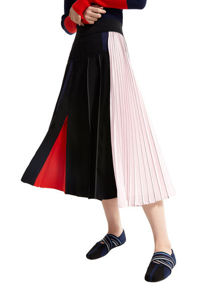 Block Stripe Asymmetric Pleat Skirt Sportmax