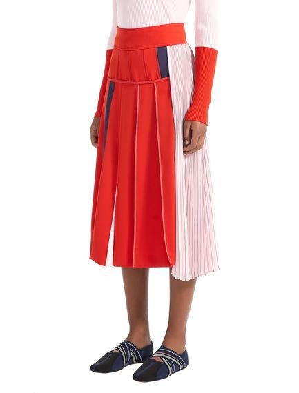 Block Stripe Asymmetric Pleat Skirt