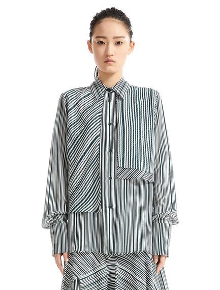 Layered Stripe Silk Blouse