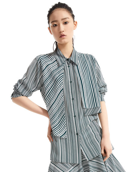 Layered Stripe Silk Blouse Sportmax