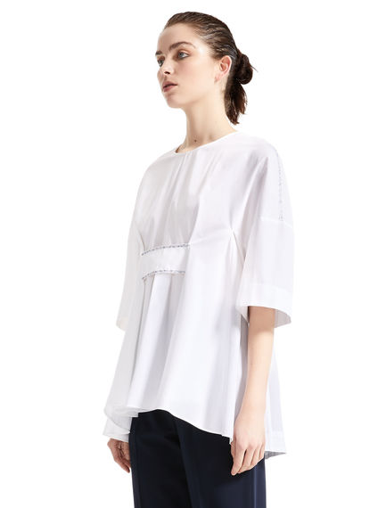 Clasp Front Poplin Tunic Top