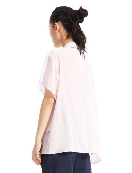 Layered Sash Neck Silk Top
