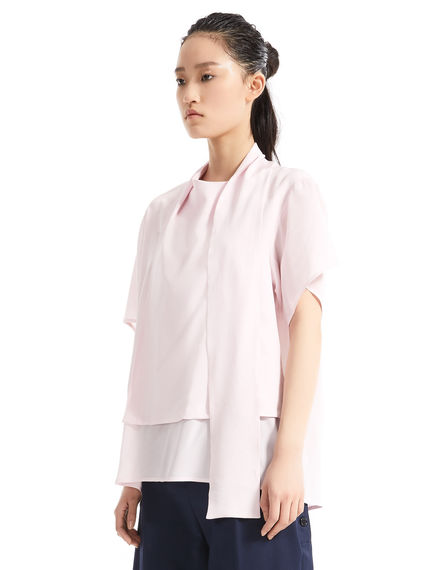 Layered Sash Neck Silk Top