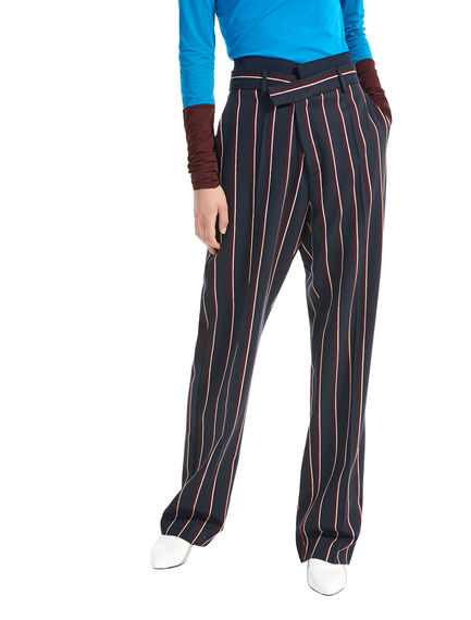 Pinstripe Wide Leg Trousers