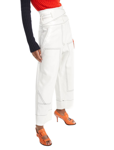 Engineered Cotton Workwear Trousers Sportmax