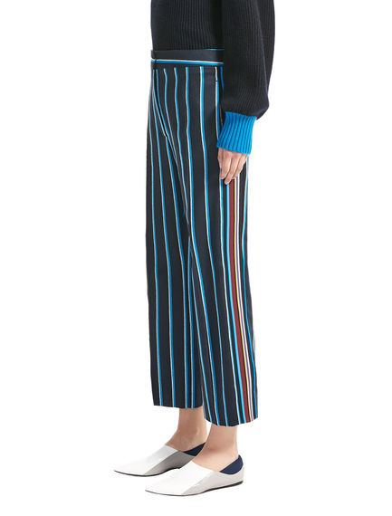 Pinstripe Wool Satin Trousers