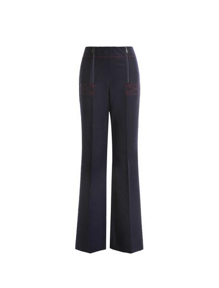 Zip-waist Flannel Trousers