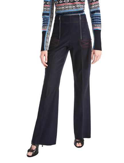 Zip-waist Flannel Trousers