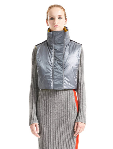 Contrast Texture Cropped & Padded Gilet