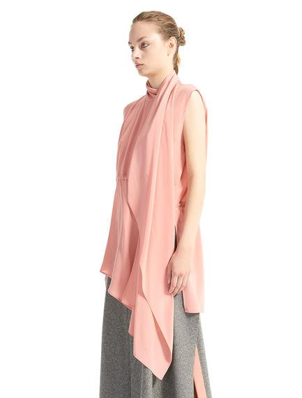 Asymmetric Drawstring Silk Tunic