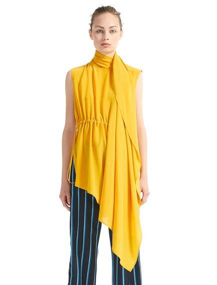 Asymmetric Drawstring Silk Tunic