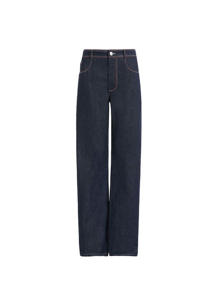Contrast Stitch Flared Jeans