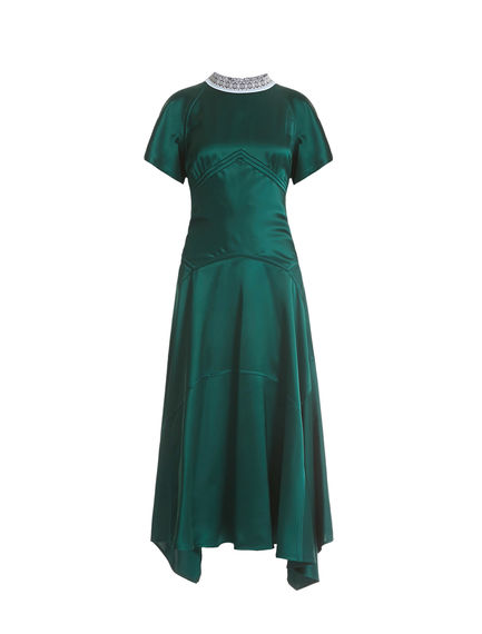 Nordic Neckline Satin Dress
