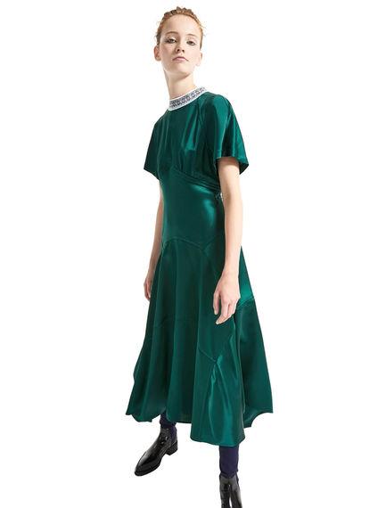 Nordic Neckline Satin Dress