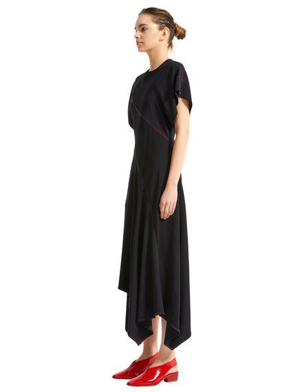 Contrast Stitch Asymmetric Dress
