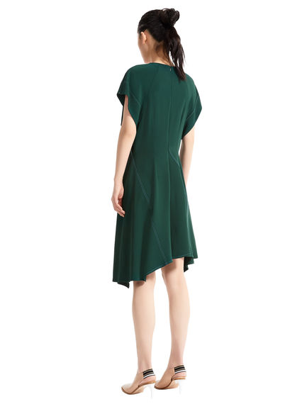 Short Contrast Stitch Asymmetric Dress