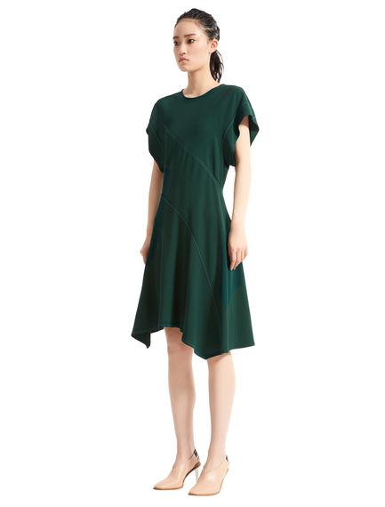 Short Contrast Stitch Asymmetric Dress
