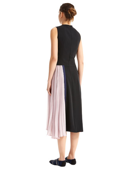 Block Stripe Asymmetric Pleat Dress
