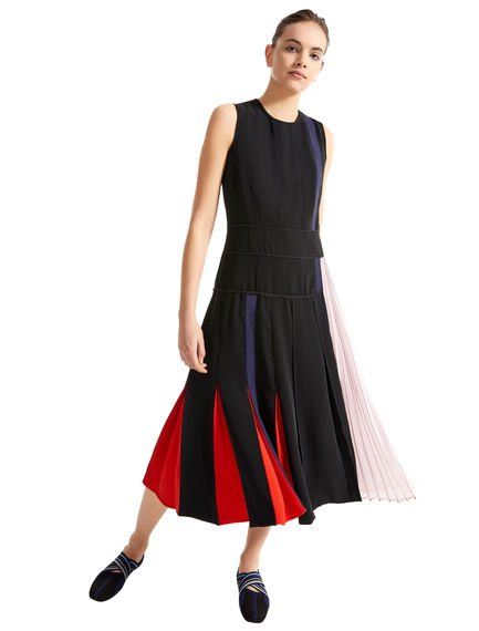 Block Stripe Asymmetric Pleat Dress Sportmax