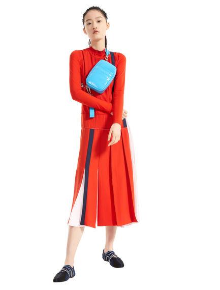 Block Stripe Asymmetric Pleat Dress