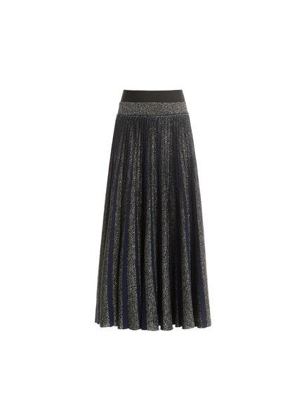 Sunray Pleat Lurex & Wool Skirt