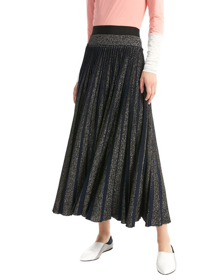 Sunray Pleat Lurex & Wool Skirt Sportmax