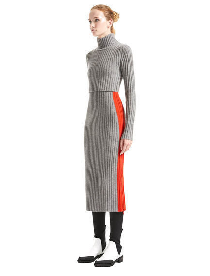 Zip Side Cashmere Knit Dress