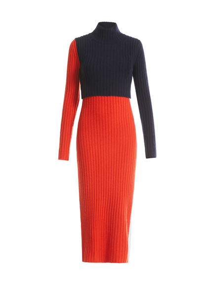 Zip Side Cashmere Knit Dress