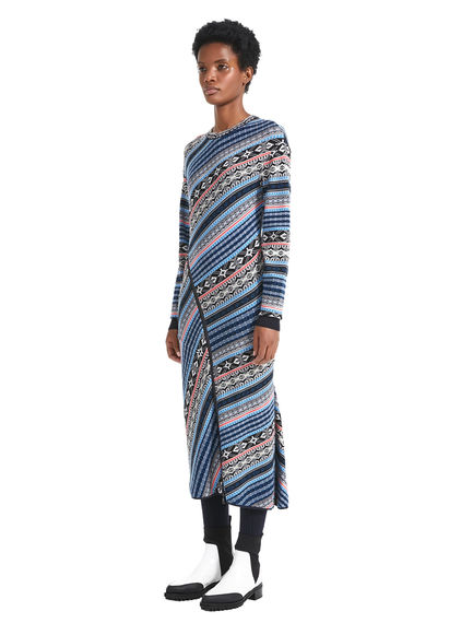 Nordic Pattern Sweater Dress