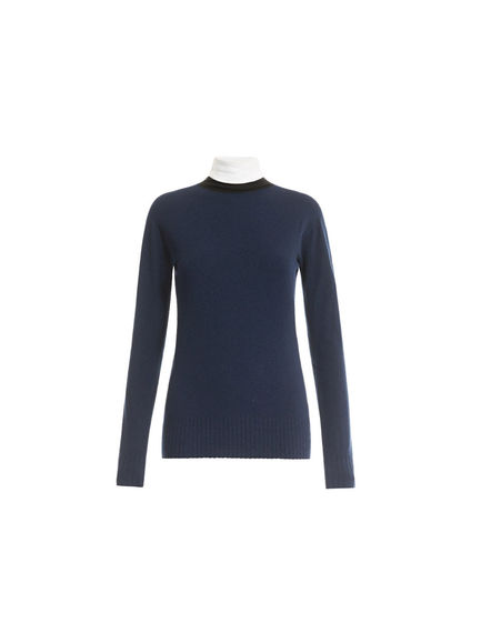 Contrast Neck Fitted Sweater