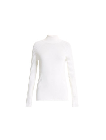 Sculptural Stretch Wool Turtleneck