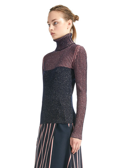Lurex & Wool Polo-neck Sweater